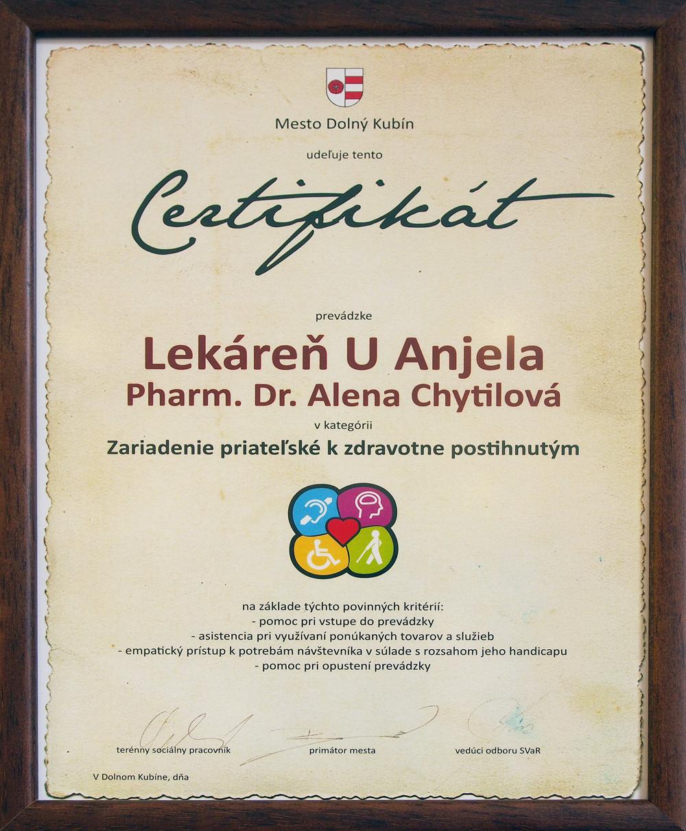 Certifikát zariadenie priateľské k zdravotne postihnutým