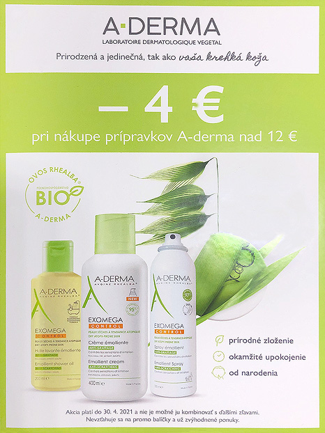 Akcia A-Derma, zľava -4,- EUR nad 12,- EUR